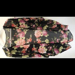 Black floral women's sheer kimono